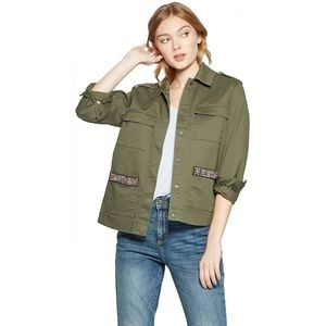 NEW A New Day Beaded Military Jacket Small Olive